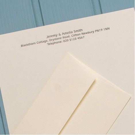 A4 Personal Cream Letterheads & Matching Envelopes