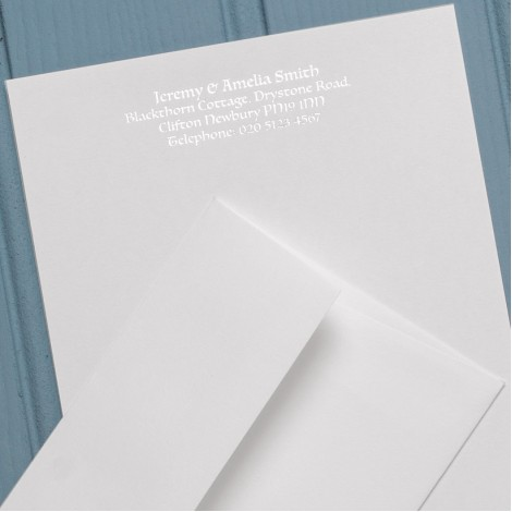 A5 Personal White Notelets & Matching Envelopes