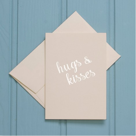 Hugs and Kisses in Gold - Single Greeting Card