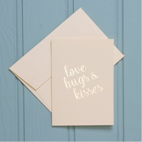 Love, Hugs and Kisses in Gold - Single Greeting Card