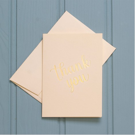 Thank You in Gold - Single Greeting Card
