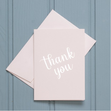 Thank You in Silver - Single Greeting Card