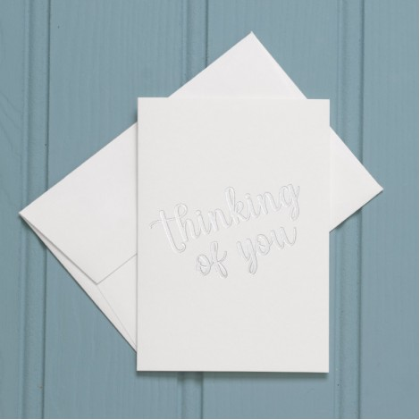 Thinking of You in Silver - Single Greeting Card