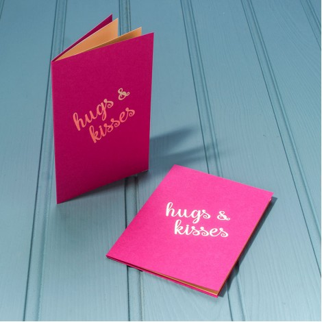 Hugs and Kisses in Gold - Single Luxury Greeting Card - choice of 4 colours