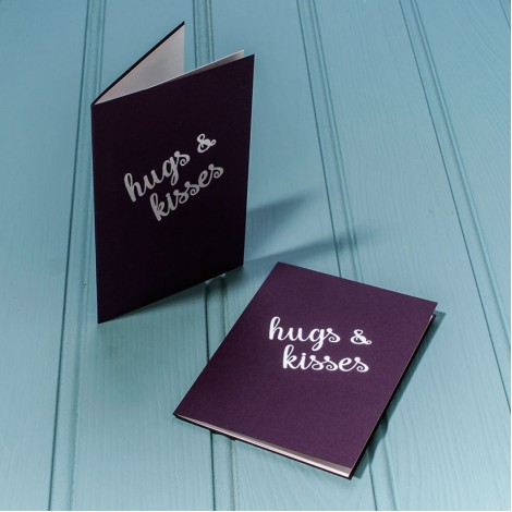 Hugs and Kisses in Silver - Single Luxury Greeting Card - choice of 4 colours