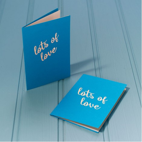 Lots of Love in Gold - Single Luxury Greeting Card - choice of 4 colours