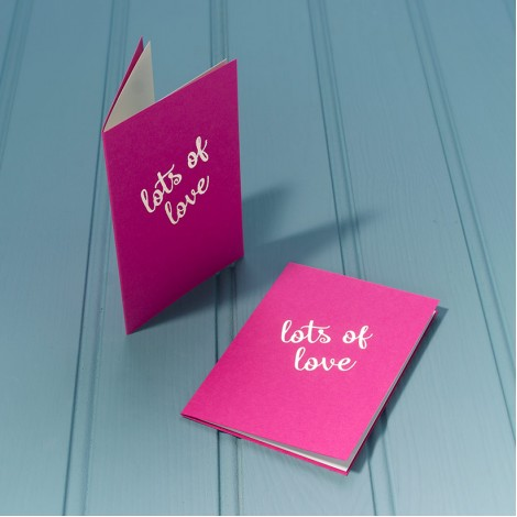 Lots of Love in Silver - Single Luxury Greeting Card - choice of 4 colours