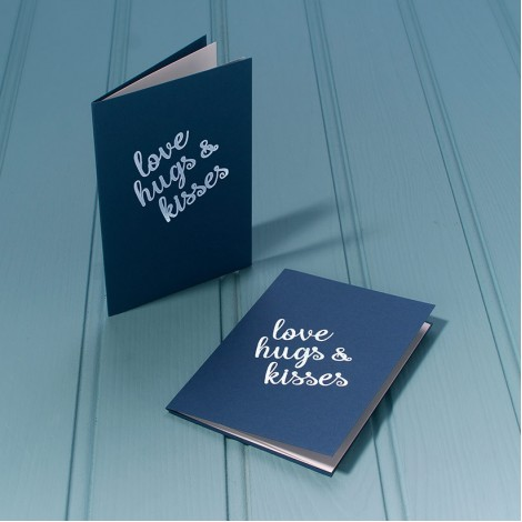 Love, Hugs and Kisses in Silver - Single Luxury Greeting Card - choice of 4 colours