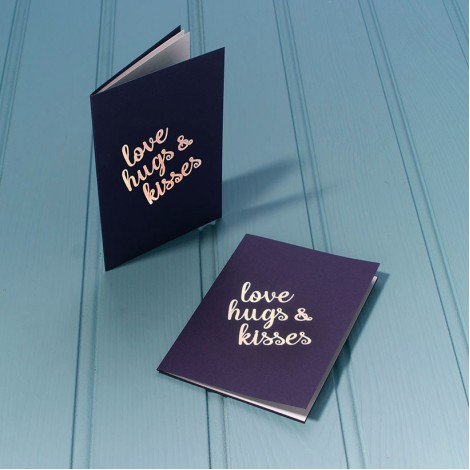 Love, Hugs and Kisses in Gold - Single Luxury Greeting Card - choice of 4 colours
