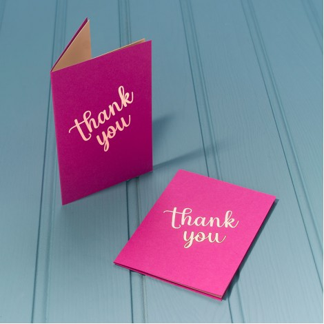 Thank You in Gold - Single Luxury Greeting Card - choice of 4 colours
