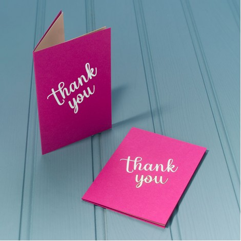 Thank You in Silver - Single Luxury Greeting Card - choice of 4 colours