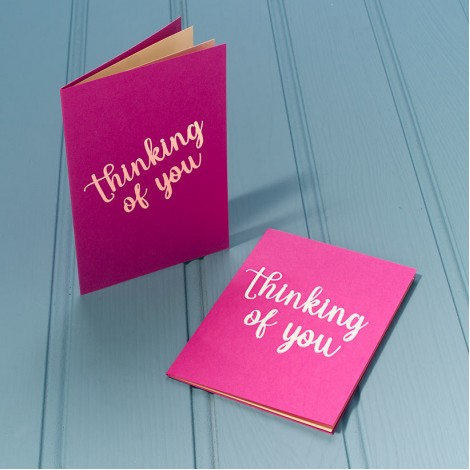 Thinking of You in Gold - Single Luxury Greeting Card - choice of 4 colours