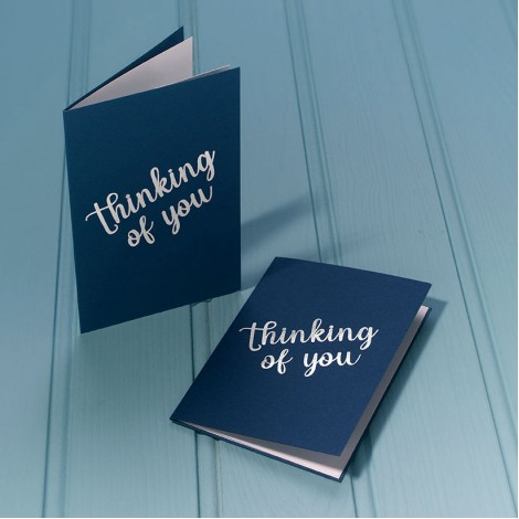 Thinking of You in Silver - Single Luxury Greeting Card - choice of 4 colours